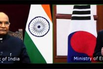 The President, Ram Nath Kovind accepting credentials from Ambassador of the Republic of Korea, Chang Jae-bok, through video conferencing, at Rashtrapati Bhavan