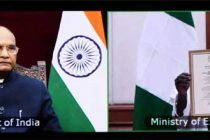 The President, Ram Nath Kovind accepting credentials from High Commissioner of the Federal Republic of Nigeria, Ahmed Sule, through video conferencing, at Rashtrapati Bhavan