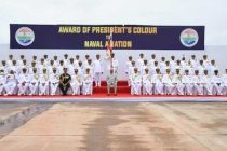 PRESIDENT OF INDIA PRESENTS COLOUR TO INDIAN NAVAL AVIATION