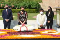 The Prime Minister of Kingdom of Denmark, Mette paying homage at the Samadhi of Mahatma Gandhi